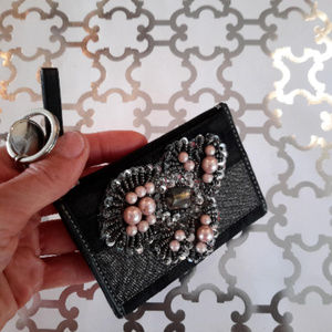 COACH wallet w Sequins Beads Pearls Embellished